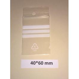Provpåse med skrivfält, 100 st, 40*60 mm